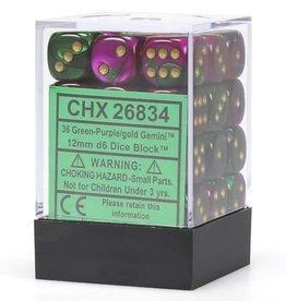 Chessex Green-Purple w/gold Gemini 12mm d6 dice set