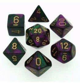 Chessex Green-Purple w/gold Gemini poly 7 dice set