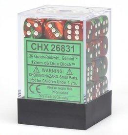 Chessex Green-Red/white Gemini 12mm d6 dice set