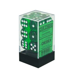 Chessex Green/white Translucent 16mm D6 dice set