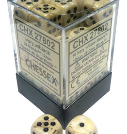 Chessex Ivory w/black Marble 12mm d6 dice set