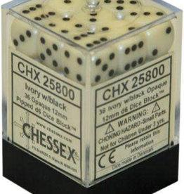 Chessex Ivory w/black Opaque 12mm d6 dice set