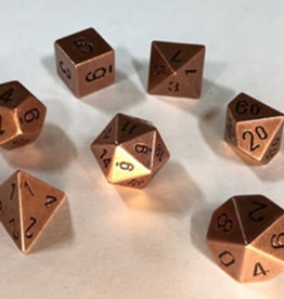 Chessex Metal Old Brass Poly 7 dice set