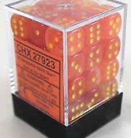 Chessex Orange w/yellow Ghostly Glow 12mm d6 dice set