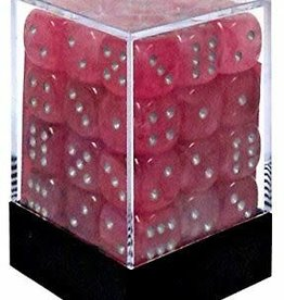Chessex Pink w/silver Ghostly Glow 12mm d6 dice set