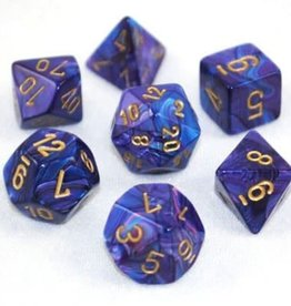 Chessex Purple w/gold Lustrous Poly 7 dice set