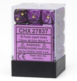 Chessex Purple w/gold Vortex 12mm d6 dice set