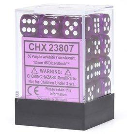 Chessex Purple w/white Translucent 12mm d6 dice set