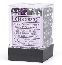 Chessex Purple-Steel/white Gemini 12mm d6 dice set