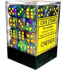 Chessex Rio w/yellow Festive 12mm d6 dice set