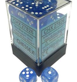 Chessex Sky Blue w/white Borealis 12mm d6 dice set