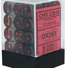 Chessex Smoke w/red Translucent 12mm d6 dice set