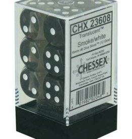 Chessex Smoke w/white Translucent 16mm d6 dice set