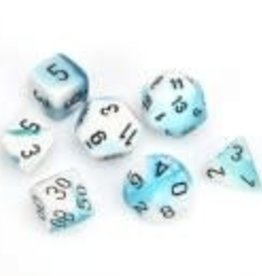 Chessex Teal-White/black Gemini Poly 7 dice set