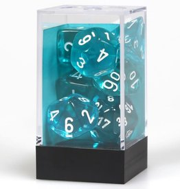 Chessex Teal/ white Translucent Poly 7 dice set