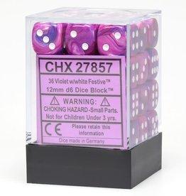 Chessex Violet w/white Festive 12mm d6 dice set
