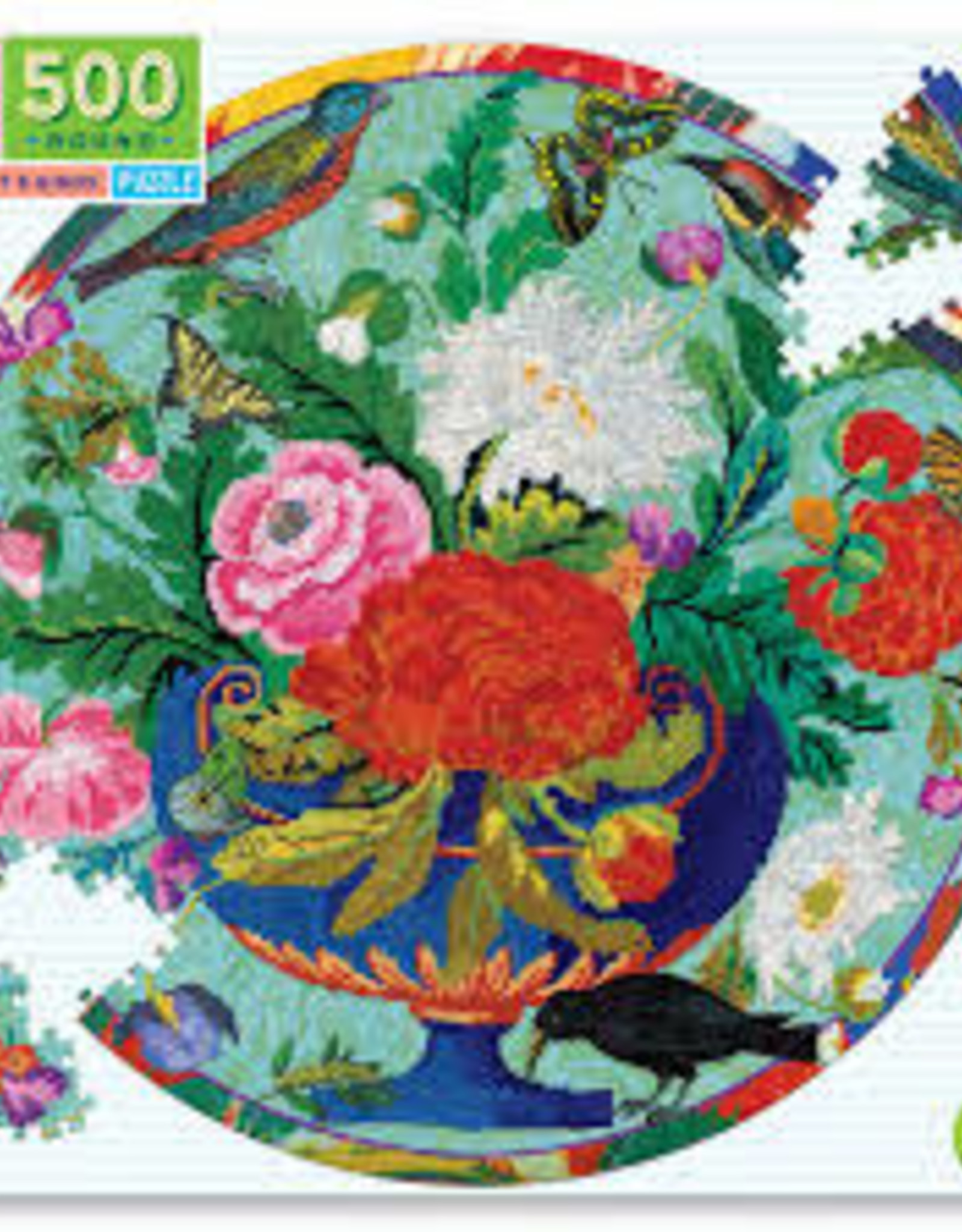 Eeboo Bouquet & Birds 500 Pc Round Puzzle