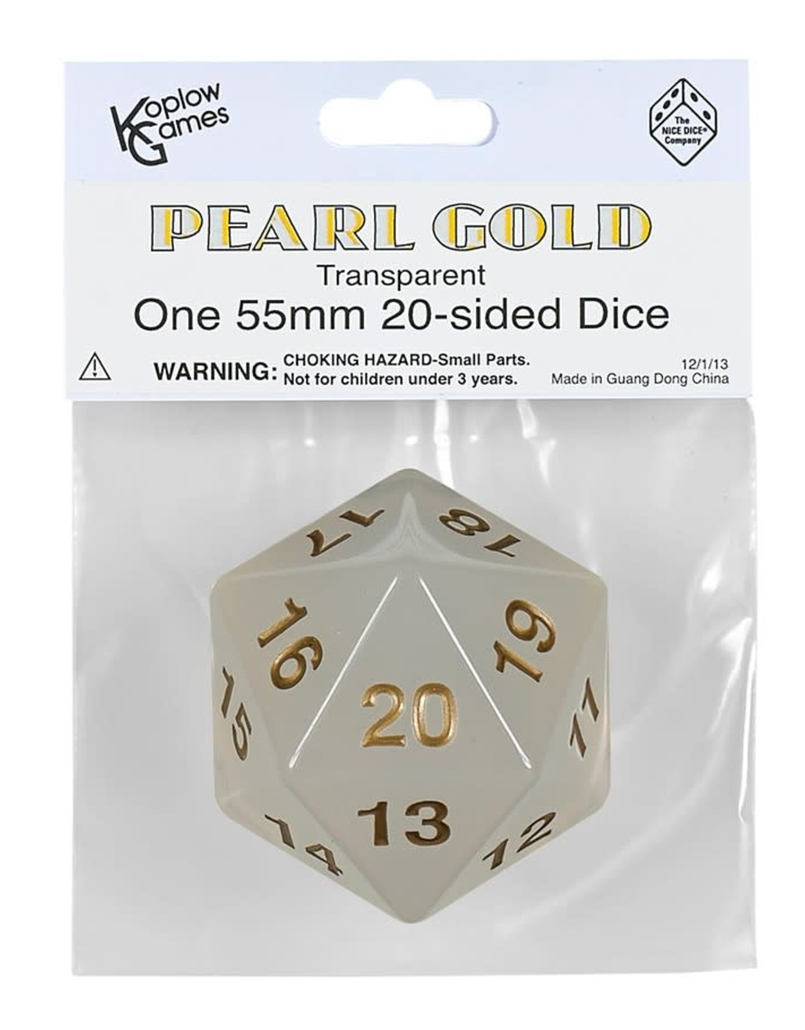 Koplow 55mm D20 Countdown Pearl/Gold Translucent