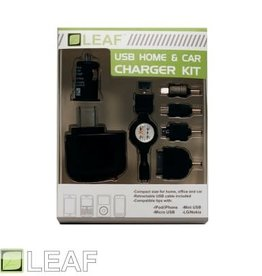 LEAF USB Home/ Car Charger Kit for iPhone/ iPad/ iPod/ Android/ Blackberry