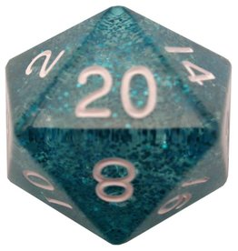 Metallic Dice Games d20 35mm Ethereal Light Blue w/White