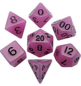 Metallic Dice Games Glow-in-the-dark Poly 7 dice set Purple 16mm