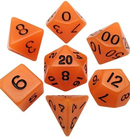 Metallic Dice Games Glow-in-the-dark Poly 7 dice set Orange 16mm