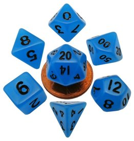 Metallic Dice Games Mini Glow-in-the-dark 10mm Poly 7 dice set: Blue with Black