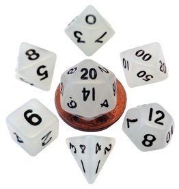 Metallic Dice Games Mini Glow-in-the-dark 10mm poly 7 dice set: Clear with Black