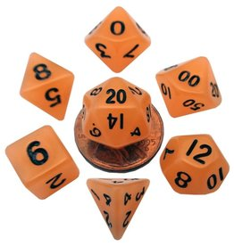 Metallic Dice Games Mini Glow-in-the-dark 10mm poly 7 dice set: Orange with Black