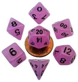 Metallic Dice Games Mini Glow-in-the-dark 10mm poly 7 dice set: Purple with Black