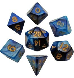 Metallic Dice Games Mini Poly 7 dice set: Blue/Light Blue with Gold 10mm