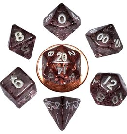 Metallic Dice Games Mini Poly 7 dice set: Ethereal Black 10mm