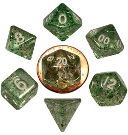 Metallic Dice Games Mini Poly 7 dice set: Ethereal Green 10mm