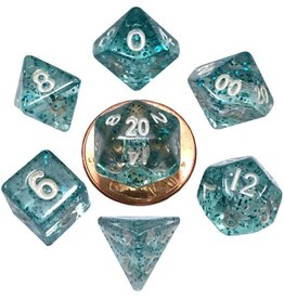Metallic Dice Games Mini Poly 7 dice set: Ethereal Light Blue 10mm