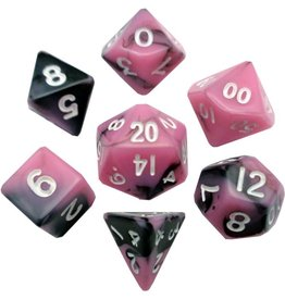 Metallic Dice Games Mini Poly 7 dice set: Pink/black with White 10mm