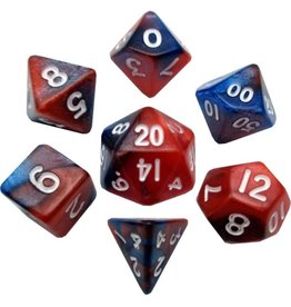 Metallic Dice Games Mini Poly 7 dice set: Red/Blue with White 10mm