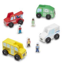Melissa & Doug Classic Wooden Toy Community Vehicle Set