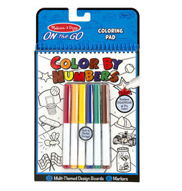 Melissa & Doug On the Go Color by Numbers Kids' Design Boards With 6 Markers - Playtime, Construction, Sports