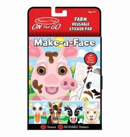 Melissa & Doug Make-a-Face - Farm Reusable Sticker Pad - On the Go Travel Activity