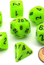 Chessex Bright Green w/black Vortex Poly 7 dice set