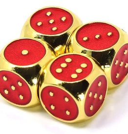 Die Hard Set of 4 mini Metal D6 w/pips Gold Ruby