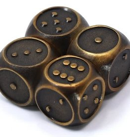 Die Hard Set of 4 mini Metal D6 w/pips Gothica Battleworn Gold