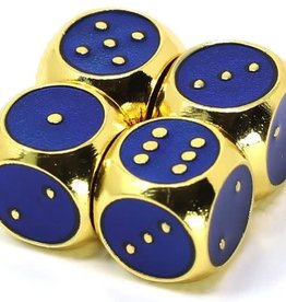 Die Hard Set of 4 mini Metal D6 w/pips Gold Sapphire