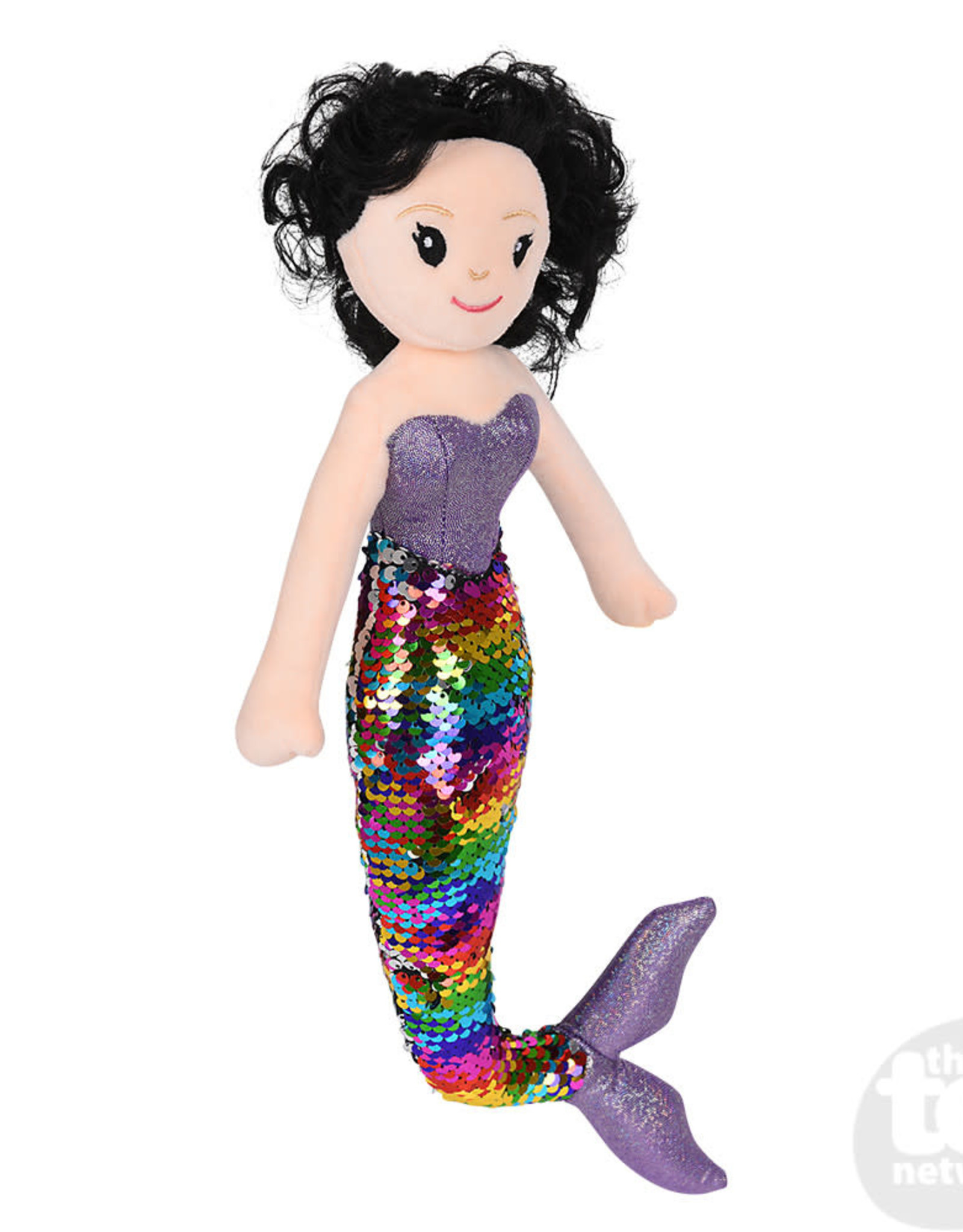 "The Toy Network 12"" Sequin Mermaid Black Hair/Rainbow Tail"