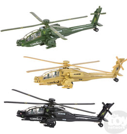"""The Toy Network 8"""" Die Cast Pullback Apache Helicopter"""