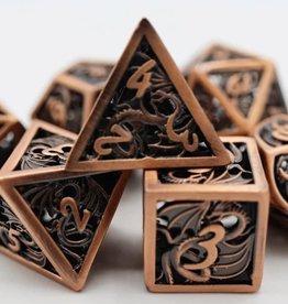 Foam Brain Games Hollow Copper Dragon Poly 7 Metal Dice Set