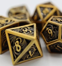Foam Brain Games Hollow Golden Dragon Poly 7 Metal Dice Set