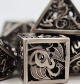 Foam Brain Games Hollow Silver Dragon Poly 7 Metal Dice Set