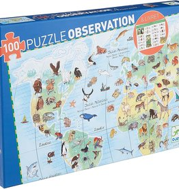 DJECO World Animals 100pc Observation Jigsaw Puzzle +  Poster + Booklet