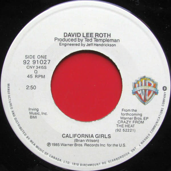 Rock/Pop David Lee Roth - California Girls b/w California Girls Remix (G)